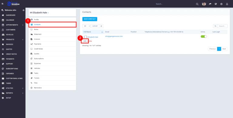 Garage Invoice how to update customer2
