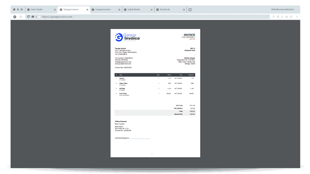 garage invoice invoice